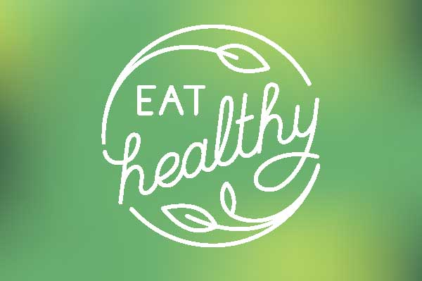Eat healthy graphic on green background