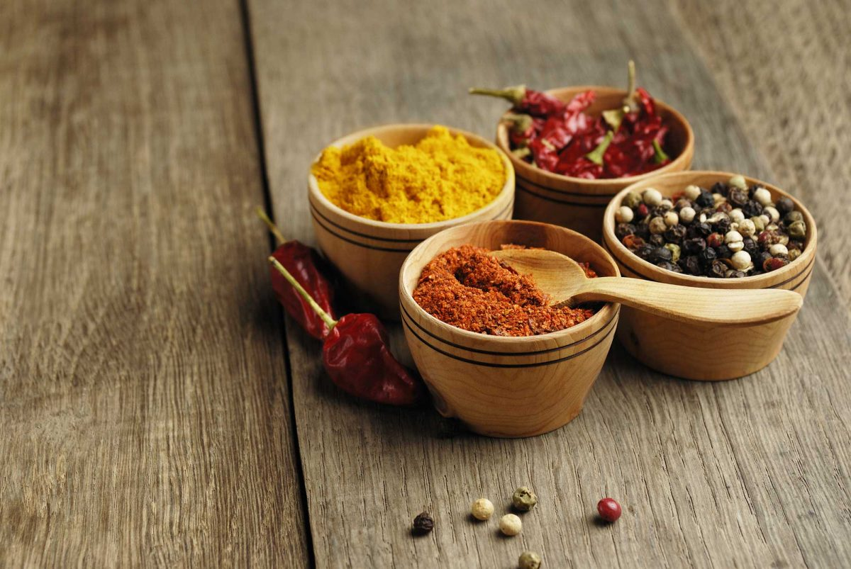 Turmeric, Chilli, peppercorn and dried chilli seasoning